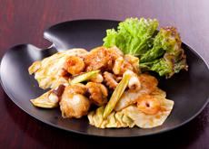 Seafood with basil tomato sauce